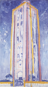Mondrian A687 Lighthouse at Westkapelle in Orange, Pink, Purple and Blue, c.1910