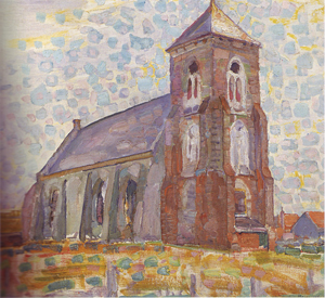 Mondrian A688 Church at Zoutelande, Three-quarter View, 1909