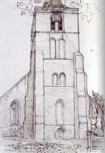 Mondrian A690 Church Tower at Domburg, drawing, 1910-11
