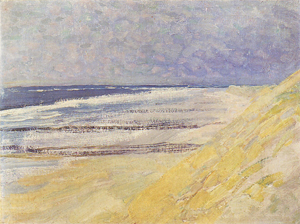 Mondrian A698 Beach with Three or Four Piers at Domburg, 1909