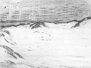 Mondrian A705 Drawing for Pointillist Study with Dunes and Sea, 1909