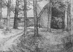 Mondrian A76 Farmyard with Carriage Barn in the Achterhoek, Drawing, c.1899