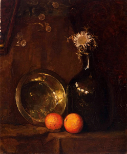 Mondrian A96a Still life with dried sunflower in a glass bottle, brass dish and two oranges