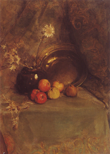 Mondrian A96 Stileven (Still Life): Apples, Pot with Flowers and Metal Pan, 1900