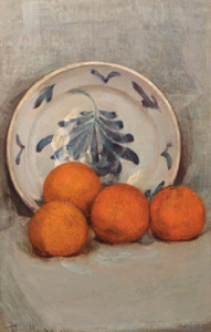 Mondrian A97 Sinaasappelen (Oranges): Oranges and Decorated Plate, 1900