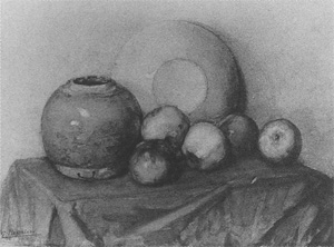 Mondrian A99 Apples, Round Pot and Plate on a Table, c.1901