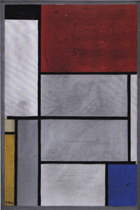 Mondrian B126a Composition with Black, Red, Grey, Yellow and Blue c.1920