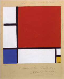 Mondrian B219a Design for composition with red yellow and blue,  1930