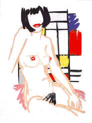 Monica Sitting with Mondrian, Tom Wesselmann