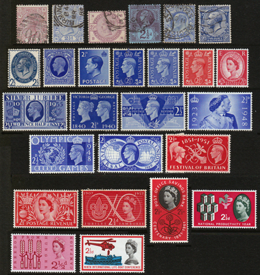 GB 2.5d stamps