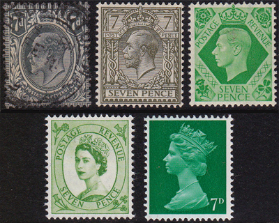 GB 7d stamps
